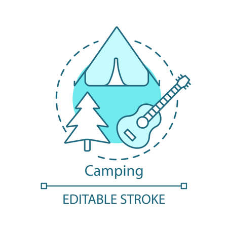 Camping concept icon. Family time together idea thin line illustration. Overnight staying in tent. Outdoor accommodation. Family trip. Vector isolated outline drawing. Editable stroke