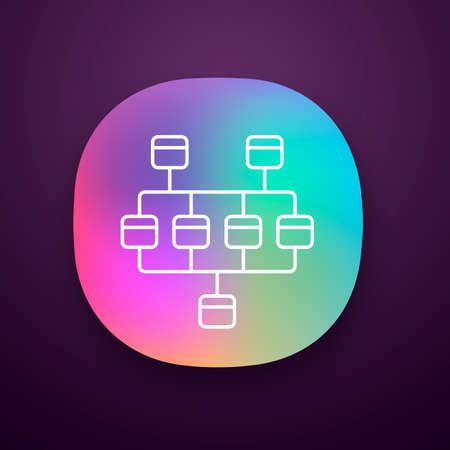 Network diagram app icon. Cluster diagram. Network graphical chart. Computers structure. Interconnected system. UI/UX user interface. Web or mobile application. Vector isolated illustration Иллюстрация