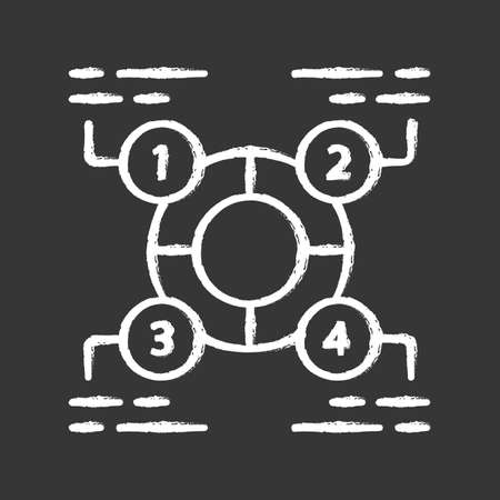 Explanatory diagram chalk icon. Statistics data visualization. Ring divided into 4 sectors. Four parts of whole. Information symbolic representation. Isolated vector chalkboard illustration Ilustrace