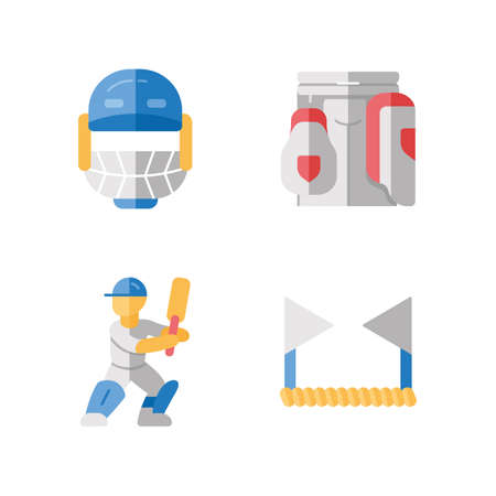 Cricket championship flat design long shadow color icons set. Sport tournament. Helmet, thigh guard, batsman, boundary rope. Competition preparation and training. Vector silhouette illustrations Illustration