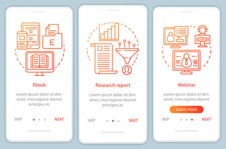 Consideration content orange onboarding mobile app page screen vector template. Research report walkthrough website steps with linear illustrations. UX, UI, GUI smartphone interface concept