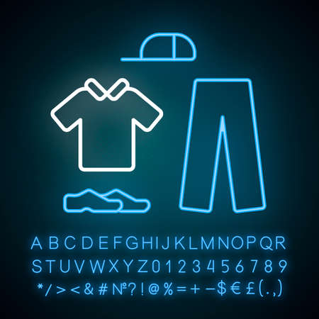 Cricket uniform neon light icon. Sport flannels. Sportswear. Collared shirt, long trousers, cap, shoes. Man outfit. Glowing sign with alphabet, numbers and symbols. Vector isolated illustration