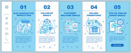 Email marketing onboarding mobile web pages vector template. Newsletters, email. Responsive smartphone website interface idea with linear illustrations. Webpage walkthrough step screens. Color concept