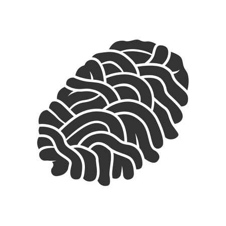 Hackfleisch-Glyphe-Symbol. Metzger Produkt. Zutat für Fleischbällchen. Fleischproduktion und Verkauf. Metzgerei. Silhouette-Symbol. Negativer Raum. Isolierte Vektorgrafik