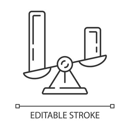 Comparison diagram linear icon. Cluster diagram. Contrast objects symbolic representation. Histogram on scales. Thin line illustration. Contour symbol. Vector isolated outline drawing. Editable stroke