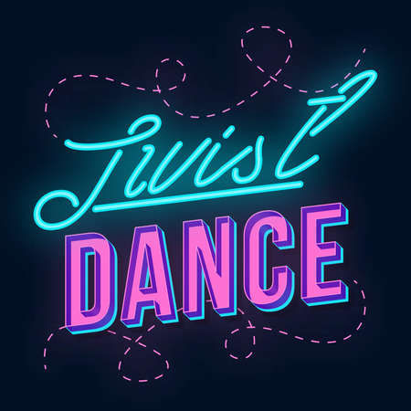 Just dance vintage 3d vector lettering. Retro party bold font, typeface. Pop art stylized text. Old school style neon light letters. 90s, 80s poster, banner. Dark violet color background