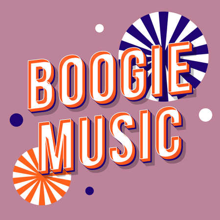 Boogie music vintage 3d vector lettering. Retro bold font, typeface. Pop art stylized text. Old school style letters. 90s, 80s poster, banner, t shirt typography design. Lilac color background