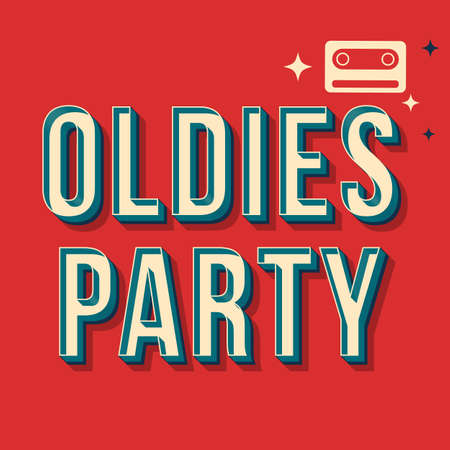 Oldies party vintage 3d vector lettering. Retro bold font, typeface. Pop art stylized text. Old school style letters. 90s, 80s poster, banner, t shirt typography design. Red color background