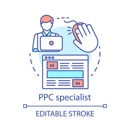 PPC specialist concept icon. Digital marketing specialty idea thin line illustration. Paid search analyst, marketer. Pay per click management. Vector isolated outline drawing. Editable stroke