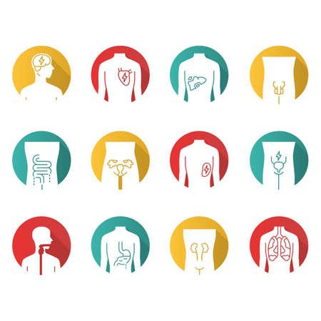 Conjunto de iconos de glifo de sombra larga de diseño plano de órganos humanos enfermos. Dolor de corazón y pulmones. Dolor de vejiga urinaria. Hígado e intestinos no saludables. Partes internas del cuerpo enfermas. Ilustración de silueta de vector Ilustración de vector