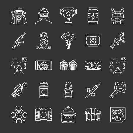 Online game inventory chalk icons set. Shooter from first person. Online multiplayer battle royale. Esports, cybersports equipment. Computer, video game tools. Isolated vector chalkboard illustrations