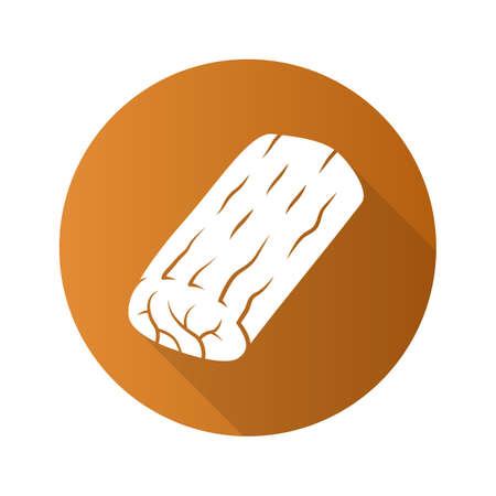 Icono de glifo de sombra larga de diseño plano asado. Carne de carnicero. Ingrediente para el almuerzo. Producción y venta de carne. Fuente proteica. Negocio de carnicería. Ilustración de silueta de vector