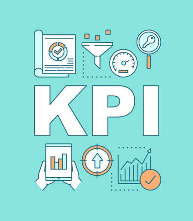 KPI word concepts banner. Key Performance Indicator. Performance measurement. Presentation, website. Isolated lettering typography idea with linear icons. Vector outline illustration Banco de Imagens - 128690103