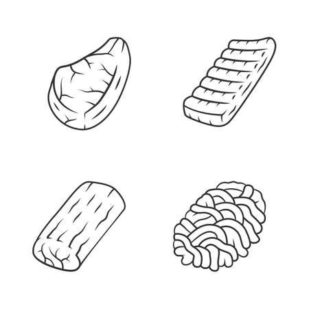 Butchers meat linear icons set. Ground meat, pork steak, pork roast, beef ribs.Butchery business. Protein sources. Thin line contour symbols. Isolated vector outline illustrations. Editable stroke