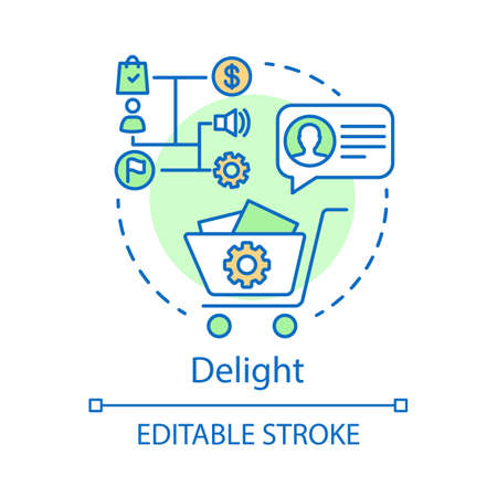Delight concept icon. Inbound marketing method for customer idea thin line illustration. Marketing automation, conversations. Business strategy. Vector isolated outline drawing. Editable stroke
