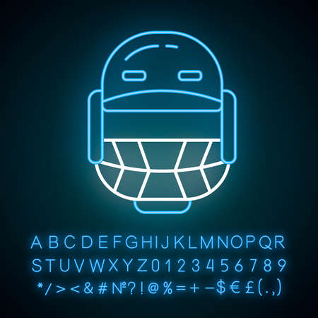 Cricket helmet neon light icon. Head protection for batsman and fielders. Cricketer uniform. Protective sportsman gear. Glowing sign with alphabet, numbers and symbols. Vector isolated illustration Ilustração