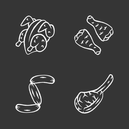 Butchers meat chalk icons set. Chicken carcase and wings, tomahawk steak, sausages, pork rib. Protein sources. Butchery business. Meat production and sale. Isolated vector chalkboard illustrations Иллюстрация