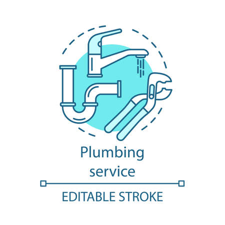 Plumbing service concept icon. Home service idea thin line illustration. Bathroom maintenance. Water taps, faucets repair. Leaking pipes fix. Vector isolated outline drawing. Editable stroke