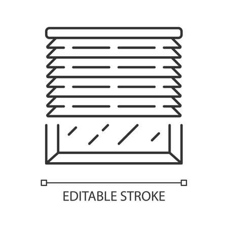 Venetian blinds linear icon. Window jalousie, treatments. Kitchen, living room shutters. Home interior design. Thin line illustration. Contour symbol. Vector isolated outline drawing. Editable stroke Illustration