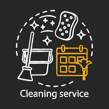 Cleaning service chalk concept icon. Home service idea. Apartment cleanup. Housekeeping. House maintenance. Vector isolated chalkboard illustration