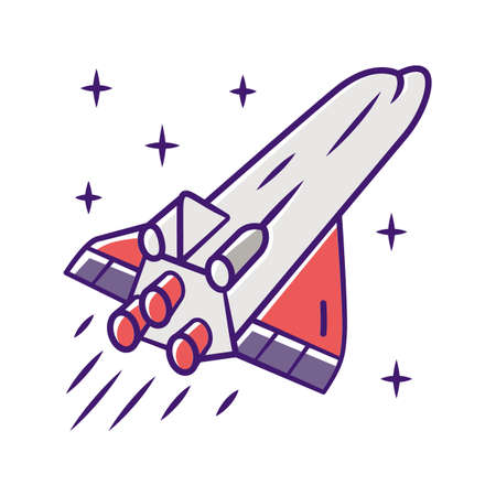 Spaceship color icon. Flying spacecraft. Aerospace vehicle. Interstellar space ship. Missile, aircraft. Human spaceflight. Space exploration. Interplanetary travel. Isolated vector illustration