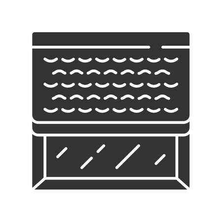 Woven wood shades glyph icon. Kitchen, living room darkening decoration. Window blinds. Interior design. Window covering, jalousie. Silhouette symbol. Negative space. Vector isolated illustration