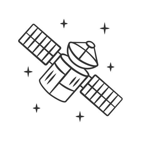 Satellite linear icon. Sputnik. Artificial object in orbit. Space probe. Space telescope. GPS navigation. Thin line illustration. Contour symbol. Vector isolated outline drawing. Editable stroke