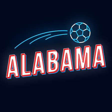 Alabama vintage 3d vector lettering. Retro bold font, typeface. Pop art stylized text. Old school style neon light letters. 90s, 80s poster, banner design. Dark blue color background with soccer ball