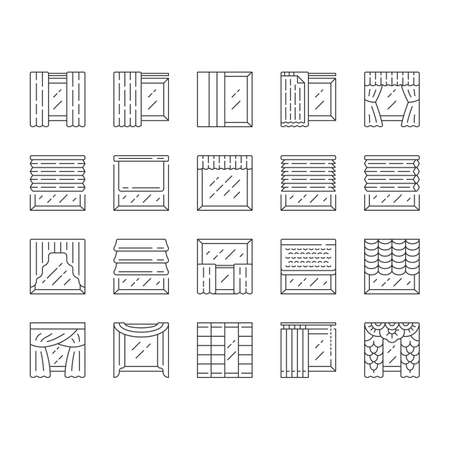 Window treatments and curtains linear icons set. Roman shades, blinds, valance, panel, shutters. Home decor shop. Thin line contour symbols. Isolated vector outline illustrations. Editable stroke Illusztráció