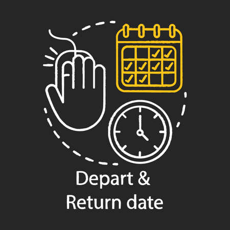 Depart and return date chalk icon. Travel insurance idea thin line illustration. Travel by plane. Flights schedules and timetables. Air transport services. Isolated vector chalkboard illustration Vettoriali