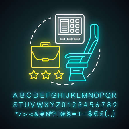 Business class neon light icon. Passenger seat in airplane.  Airplane cabin. Airline travel class seating. Glowing sign with alphabet, numbers and symbols. Vector isolated illustration