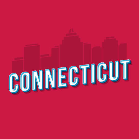 Connecticut vintage 3d vector lettering. Retro bold font, typeface. Pop art stylized text. Old school style letters. 90s, 80s poster, banner design. Crimson color background with skyscrapers