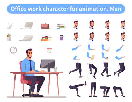 Businessman front view animated flat vector character design. Office worker character animation creation cartoon set. Top manager, ceo constructor with various face emotion, hand gestures, legs kit