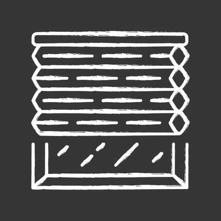 Cellular shades chalk icon. Window blinds. Room darkening motorized jalousie. Office, kitchen, bedroom interior decoration. Living room design. Isolated vector chalkboard illustration