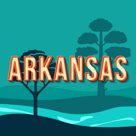 Arkansas vintage 3d vector lettering. Retro bold font, typeface. Pop art stylized text. Old school style letters. 90s, 80s poster, banner, t shirt typography design. Blue color background with pines Illustration