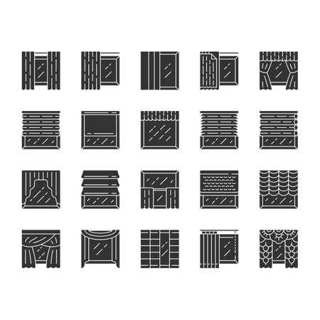 Ensemble d'icônes de glyphes de traitements de fenêtre et de rideaux. Stores romains, stores, cantonnière, panneau, volets. Obscurcissement de la pièce. Design d'intérieur, boutique de décoration. Symboles de silhouette. Illustration vectorielle isolée