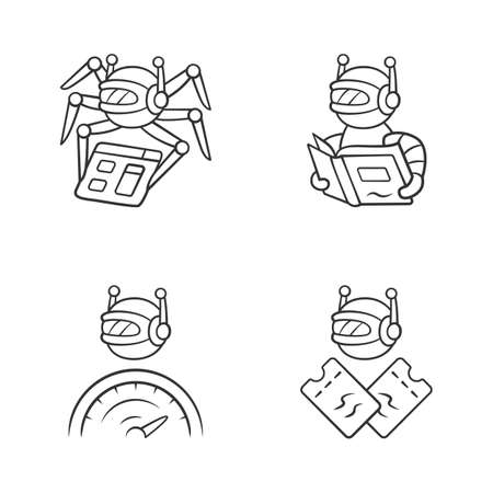 Internet bots linear icons set. Crawler, optimizer, scalper robot. Artificial intelligence. AI. Software app. Thin line contour symbols. Isolated vector outline illustrations. Editable stroke