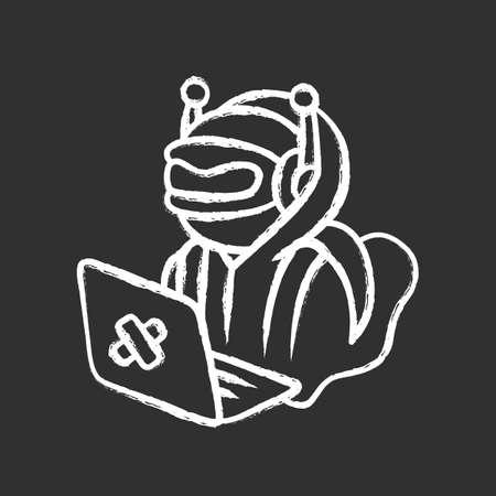 Hacker bot chalk icon. Virus robot. Cyber pirate attack, crime, cybercrime. Computer virus. Malicious software, AI. Unauthorized intrusion into network. Isolated vector chalkboard illustration Ilustração