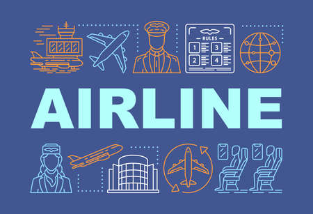 Airline word concepts banner. Tourism and travel. Cabin crew, passengers. Flying plane. Presentation, website. Isolated lettering typography idea with linear icons. Vector outline illustration