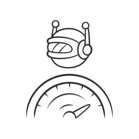 Optimizer bot linear icon. Search engine optimization. Software app. Artificial intelligence. Functional bot. Thin line illustration. Contour symbol. Vector isolated outline drawing. Editable stroke