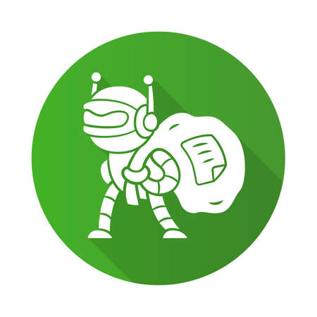Scraper bot flat design long shadow glyph icon. Malicious bad robot. Content stealing. Internet data collecting bot. Web scraping service. Artificial intelligence. Vector silhouette illustration