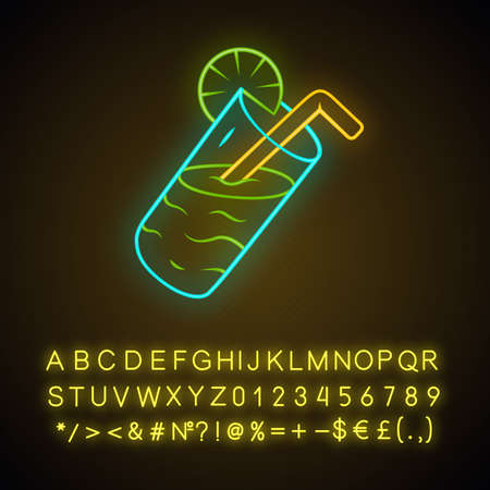 Lemonade glass with straw neon light icon. Summer refreshment drink. Lemon squash. Restaurant, cafe bar menu. Soft drink. Glowing sign with alphabet, numbers and symbols. Vector isolated illustration