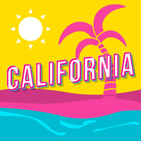 California vintage 3d vector lettering. Retro bold font, typeface. Pop art stylized text. Old school style letters. 90s, 80s poster, banner, t shirt typography design. Tropical island background Ilustracja