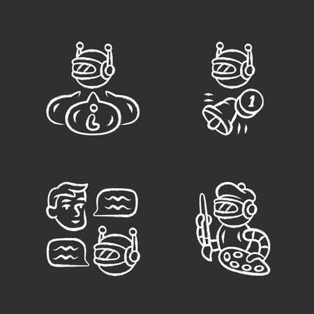 Internet robots chalk icons set. Chatbot, informational, proactive, art bots. Sending messages. Technology, cybernetics. Artificial intelligence, AI. Isolated vector chalkboard illustrations