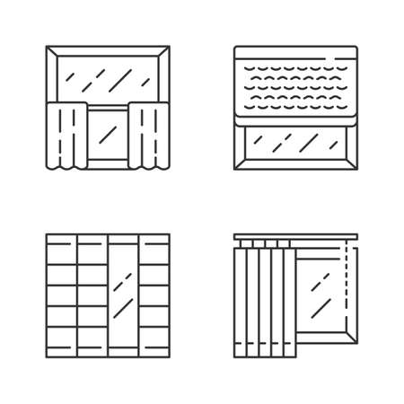 Window decoration linear icons set. Curtains, vertical blinds, woven wood shades, shoji panels. Shop interior design. Thin line contour symbols. Isolated vector outline illustrations. Editable stroke