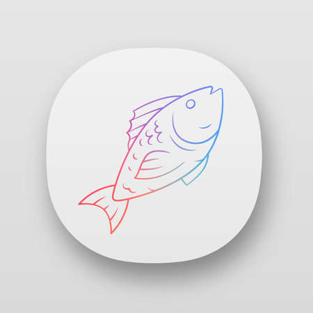 Fish app icon. Cafe, restaurant menu. Fish species. Underwater sea animal. Carp, trout, tuna dish. Healthy nutrition. UI/UX user interface. Web or mobile applications. Vector isolated illustrations