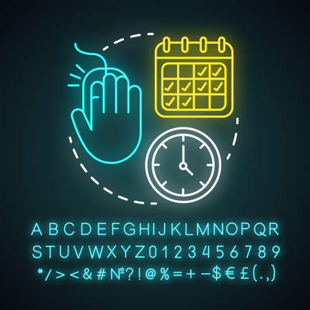 Depart and return date neon light icon. Travel insurance. Flights schedules and timetables. Air travel, trip by plane. Glowing sign with alphabet, numbers and symbols. Vector isolated illustration Vettoriali