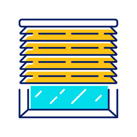Venetian blinds color icon. House and office window jalousie. Kitchen, living room shutters. Home interior design. Darkening window treatments. Isolated vector illustration