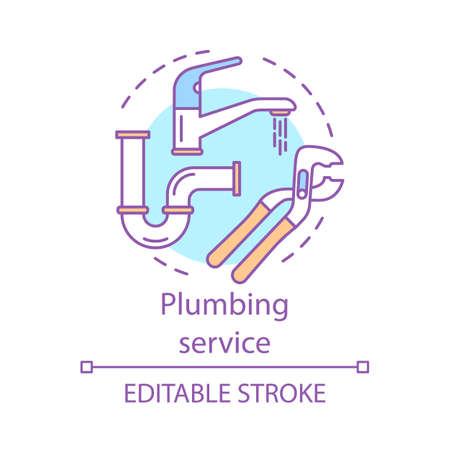 Plumbing service concept icon. Home service idea thin line illustration. Water taps, faucets repair. Bathroom maintenance. Leaking pipes fix. Vector isolated outline drawing. Editable stroke