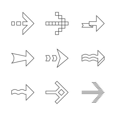 Arrows linear icons set. Wavy, pixel, folding, striped, dashed next arrows. Indicator sign. Arrowheads pointing right. Thin line contour symbols. Isolated vector outline illustrations. Editable stroke